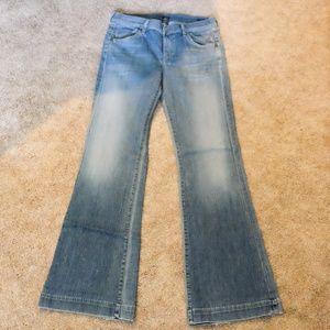 7 wide-leg Hutton flare jeans, medium wash, 29